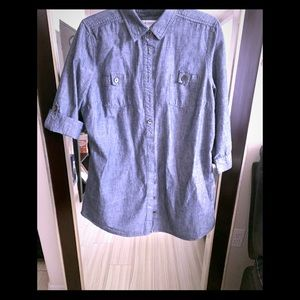 Chambry long tunic button down blouse